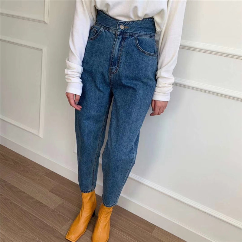 HziriP New Arrival Blue High Waist Slender 2020 Chic Loose Ankle-Length Jeans Casual Denim Plus All-Match Cowboy Carrot Pants