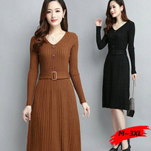 v neck black sweater dress plus size button belt winter long sleeve knitted dress elegant korean office dress vestidos dresses vestidos elegant sweater dress women v neck warm knitted autumn casual winter dresses women 2016 plus size lj7214t