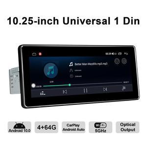 Image 5 - أندرويد 10.0 واحد الدين 10.25 بوصة 1280*480 IPS العالمي راديو السيارة لاعب 4 جيجابايت RAM 64 جيجابايت ROM RDS BT HDsupport 4 جرام/كاميرا احتياطية