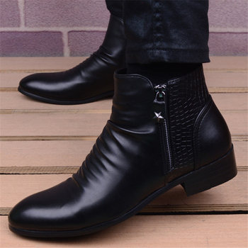 Fashion Genuine Leather Ankle Boots Men High Top Zip Suit Shoes Black Dress Boots Spring Autumn Leather Shoes Men Leather Boots heinrich spring autumn classical leather chelsea boots for men fashion ankle high boots men s business shoes bottine homme