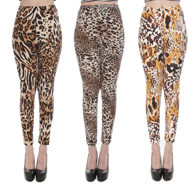 Women Ethnic Animal Leopard Tiger Print Leggings Brushed Buttery Soft Elastic Ankle Length Milk Fiber Skinny Pencil Pants
