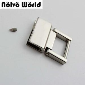 Image 1 - 20pcs 36*28mm 4colors  metal fitting hardware handbag/bags tassel cap clasp square buckle screw connector bag hanger