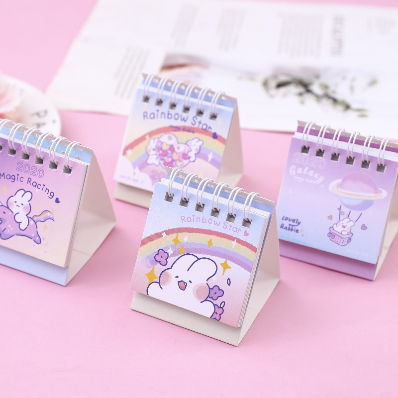 2020 Lovely Rabbit Desk Calendar DIY Rainbow Star Series Mini Calendars Daily Schedule Planner 2019.09~2020.12