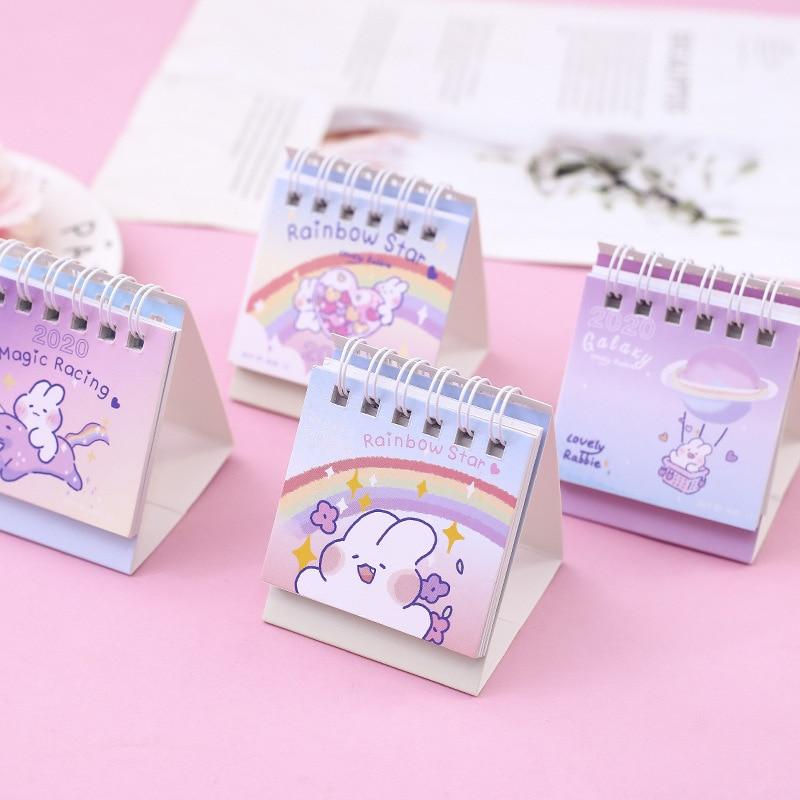 2020 Lovely Rabbit Desk Calendar DIY Rainbow Star Series Mini Calendars Daily Schedule Planner 2019.09~2020.12