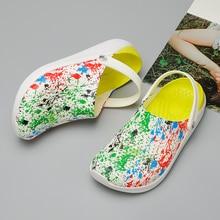 2020 Men Sandals Crocks LiteRide Hole Shoes Crok Rubber Clogs Men EVA Zapatos De Garden Shoes Black