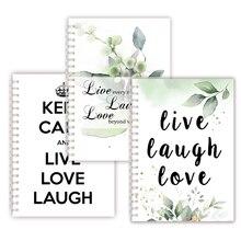 Ispirazione Citazioni In Diretta Amore Laugh A Spirale Notebook Schizzo Nota Libro di Scrittura Memo Stampa di Arte Carta Da Parati Del Fiore Della Decorazione Della Copertura poster
