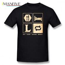 Fnatic T Shirt Eat Sleep League Repeat T-Shirt 100 Cotton Male Tee Print Casual Short-Sleeve Plus size Awesome Tshirt