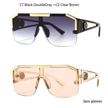 2021 New Fashion Big Square Sunglasses Men Style Gradient Trendy Driving Retro Brand Design Sun Glasses UV400 Wholesale Dropship - C7 andC2