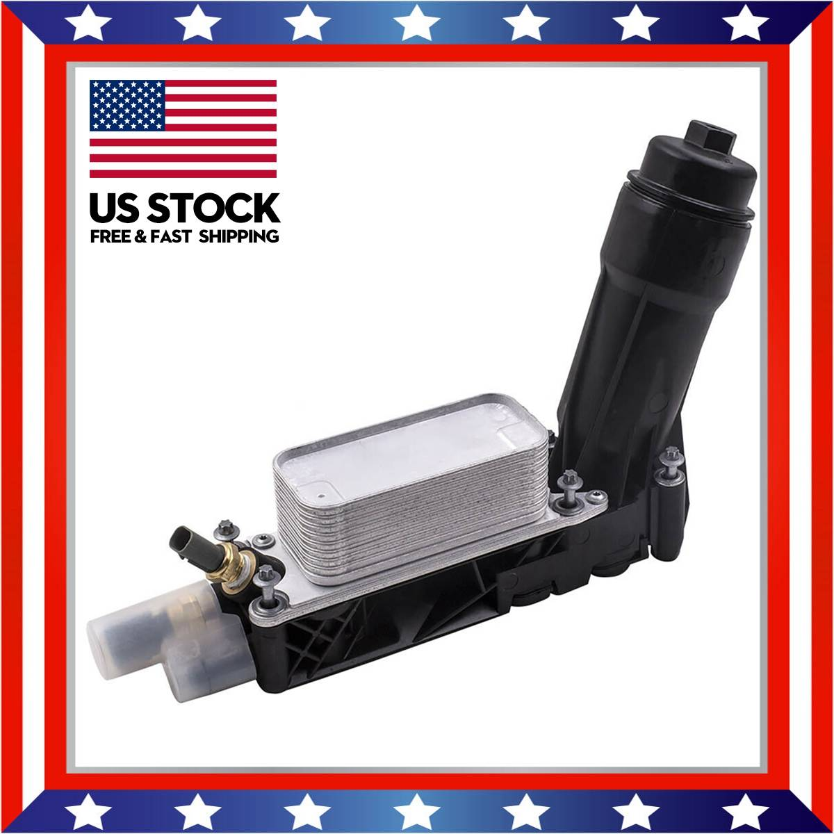 Car Oil Cooler Filter Housing W/ 2 Sensors For Jeepp Dodgee Chrysle Ram 3.6L V6 <font><b>5184294AE</b></font> 5184294AD 5184294AC Engine Oil Cooler image