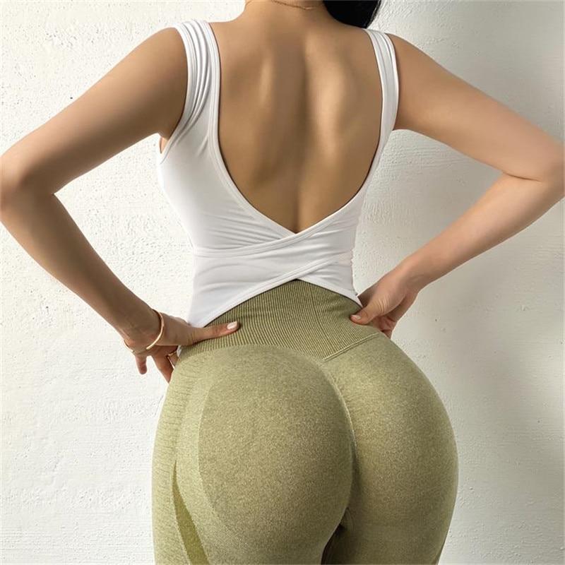 Sexy Back Yoga Crop Top Bra Inner Padded Fitness Tank Top Elastic Sport Bra Gym Vest Professional Workout Vest Sport9s