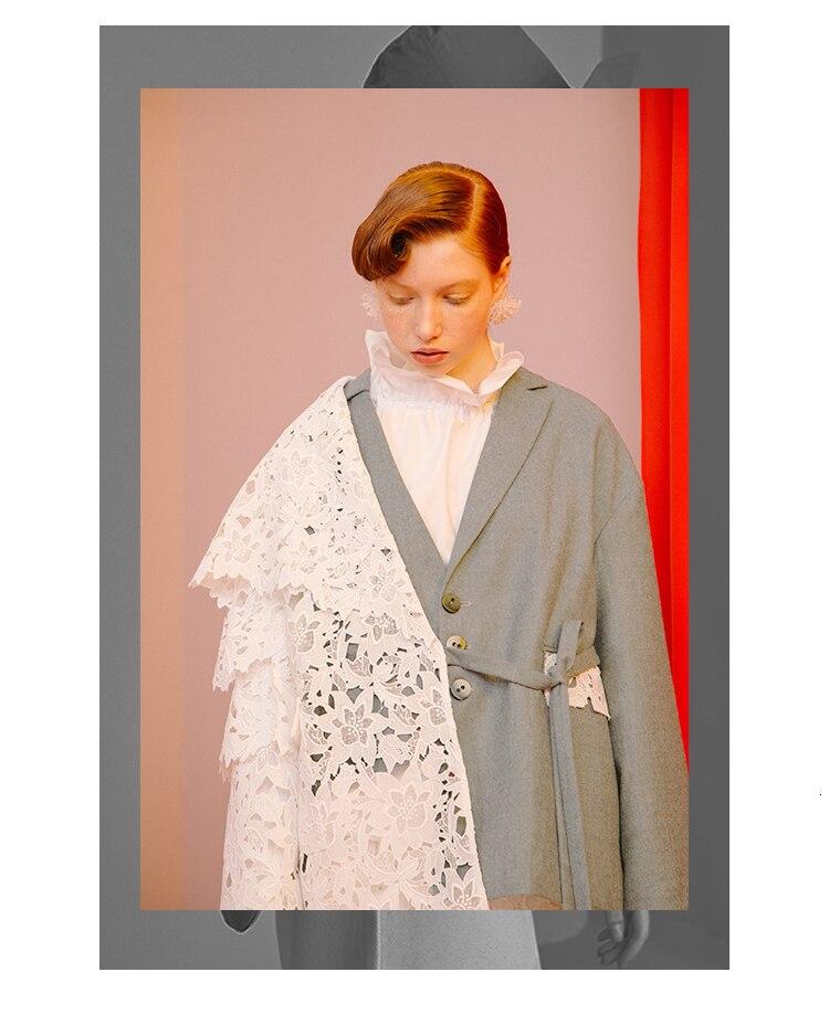 [EAM] Loose Fit Contrast Color Lace Big Size Jacket New Lapel Long Sleeve Women Coat Fashion Tide Spring Autumn 2020 1D319 5