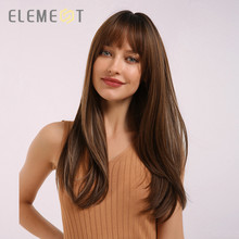 Element Synthetic Long Straight Ombre Brown Mix Grey Wigs with Bangs for White/Black Women Heat Resistant Daily or Party Wigs