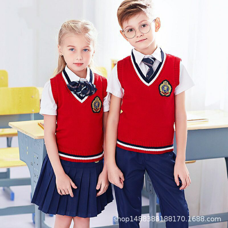 5 Kindergarten School Uniform Spring And Autumn Set 1-3 Grade Young STUDENT'S Business Attire College Style Western Style Sweate
