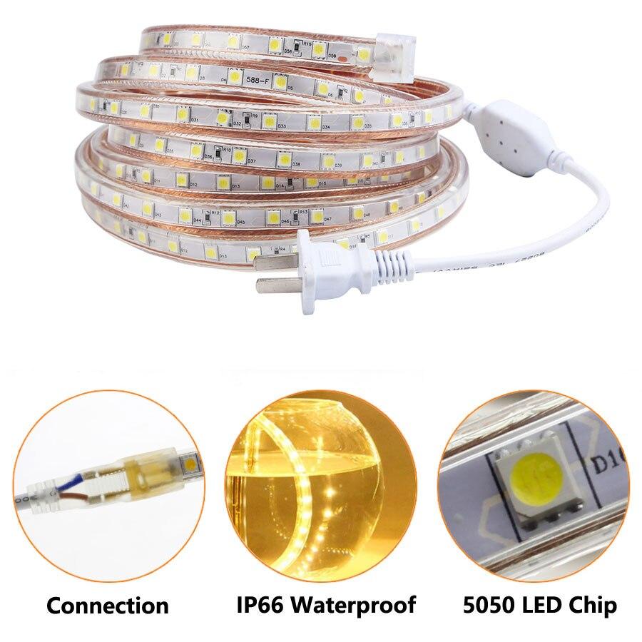 220V LED Strip Light Waterproof IP67 SMD 5050 60leds/m Tape 220 V Volt Led Strip Flexible Lamp Ambilight Power Plug Living Room