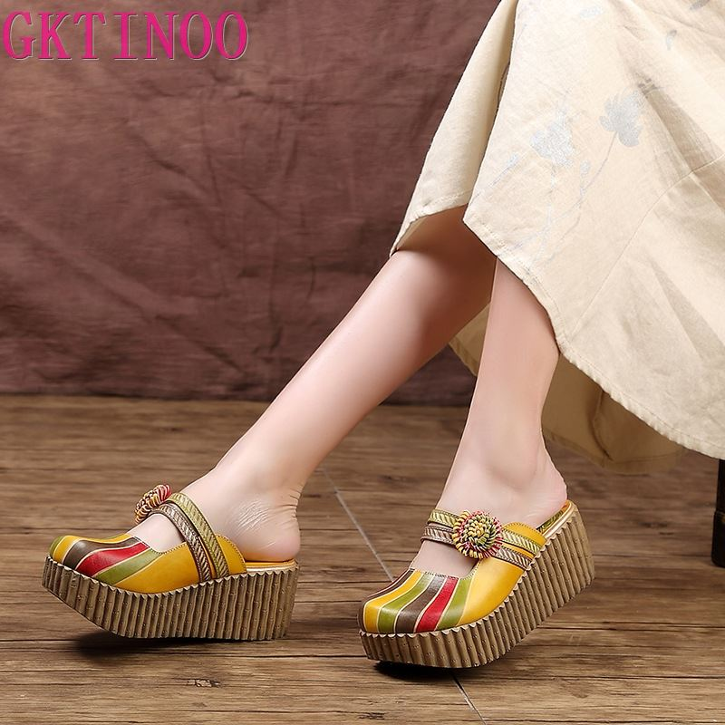 GKTINOO 2020 Summer Shoes Women Wedge Slides Cover Toes Handmade Flower Thick Heels Genuine Leather Lady Platform Slippers