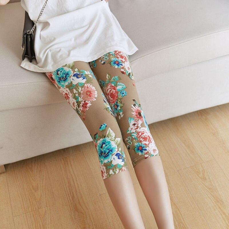 CHSDCSI Womens Leggings Pants Fashion White Big Flower Print Fitness Leggins Khaki High Waist Capris Blue Plus Size Short Pants