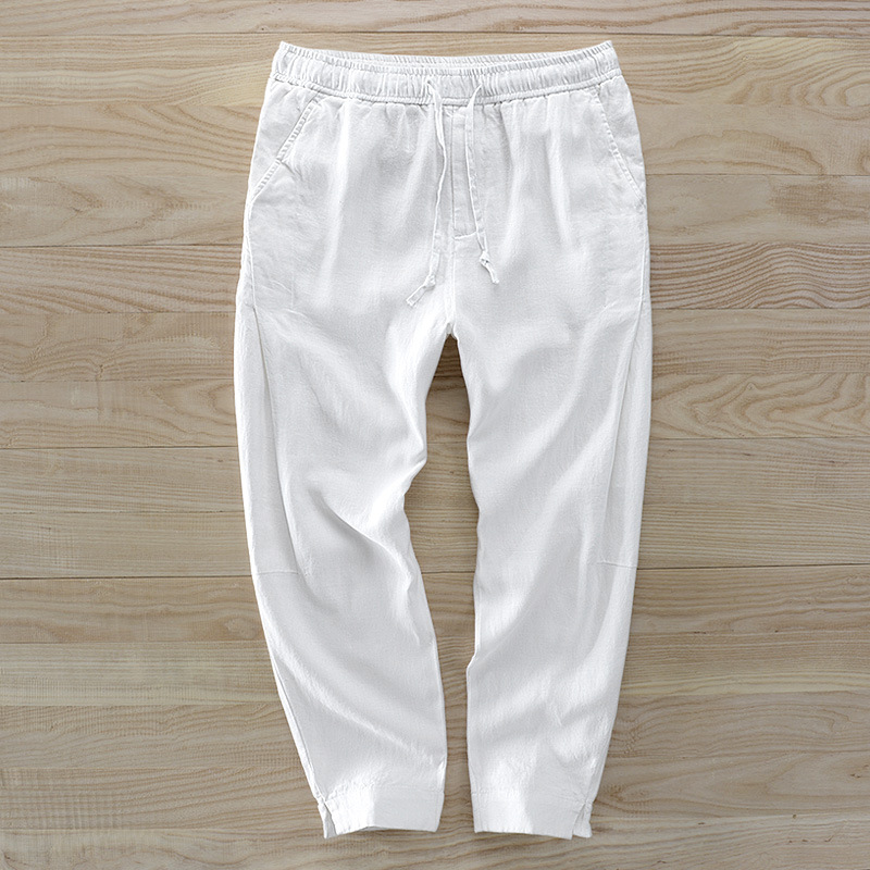 7404 Pure Linen Casual Loose Pants Support