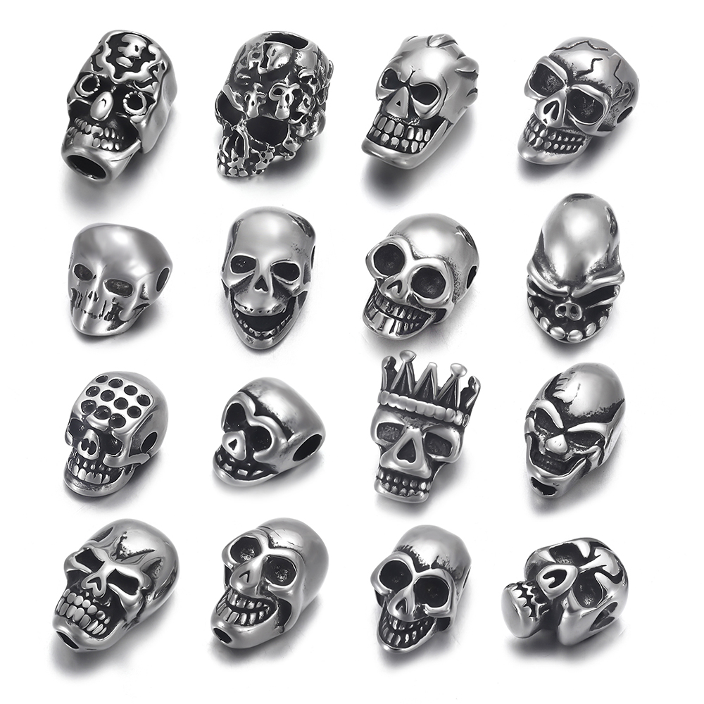 2mm Small Hole Skull Beads Double Sided