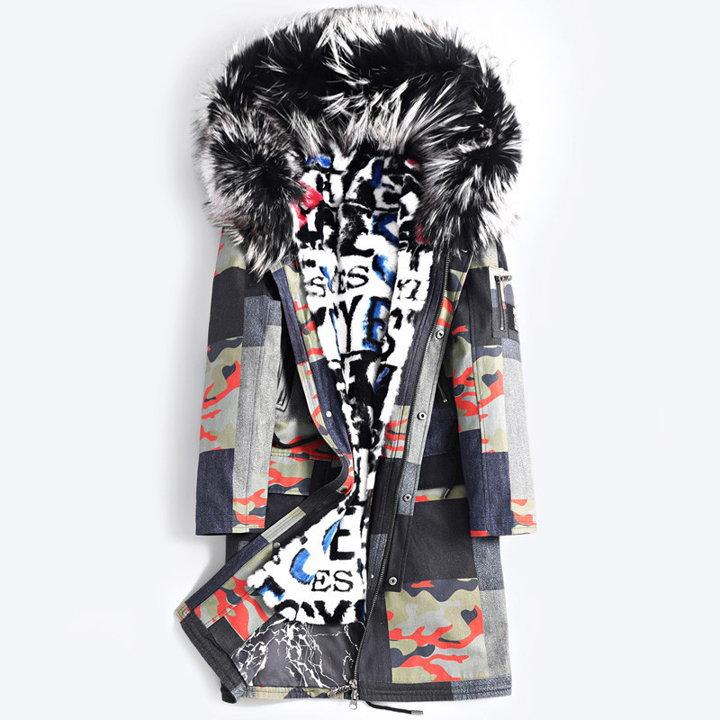 Rex Rabbit Coat Korean Fox Collar Winter Jacket Men Real Fur Parka Streetwear Casaco 3688 YY1151
