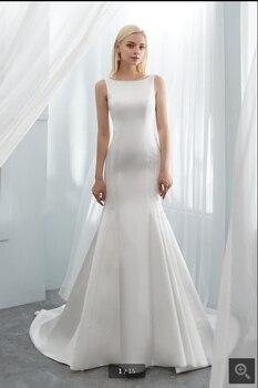 2020 new designer white satin mermaid wedding dress sleeveless backless sexy court train elegant bridal gowns best selling 1