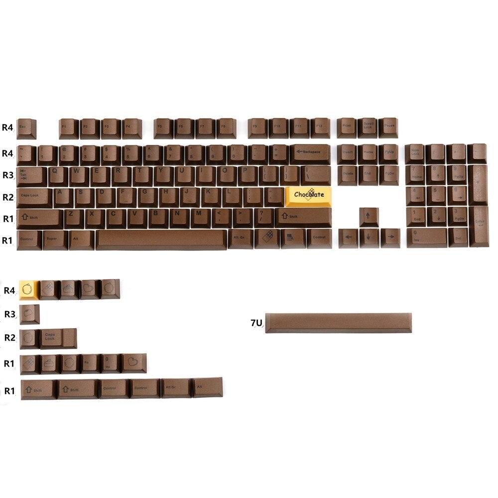 Juego de teclas de color Chocolate, 1 Juego de teclas PBT para teclado mecánico MX Switch, perfil de cereza con barra espaciadora 7U