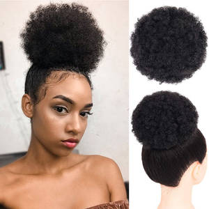 Hair-Bundles Ponytail Clip-In-Extensions Human-Hair Afro Mongolian Curly Kinky Natural