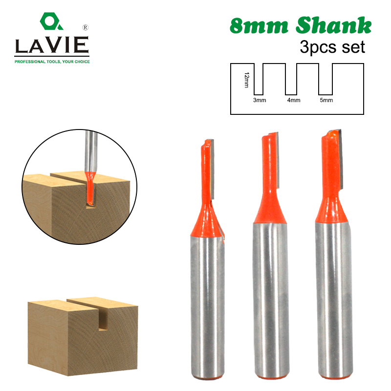 LAVIE 3pcs 8mm Shank Straight Router Bit Tungsten Carbide Single Flute Bit Wood Milling Cutter For Woodwork Tool MC02083