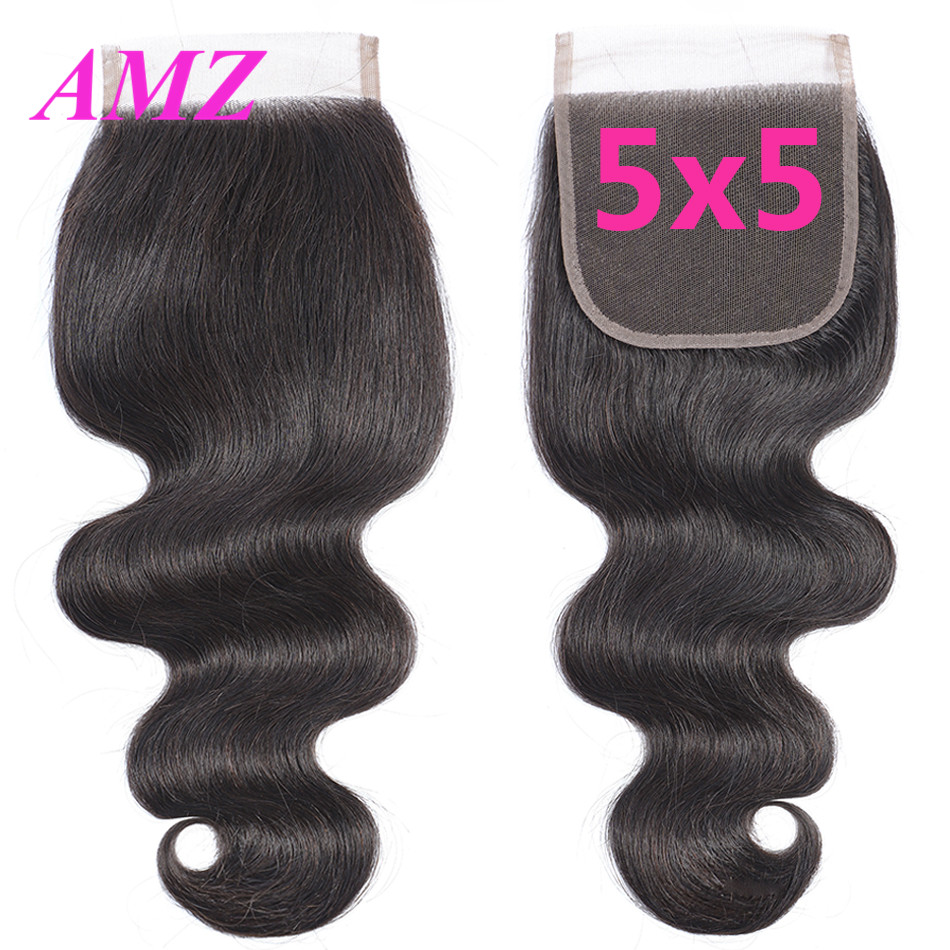 AMZ 5x5 Lace Closure Body Wave Brazilian Human Hair Closure Free/Middle/Three Part Lace Closure Remy Hair Frontal Closure