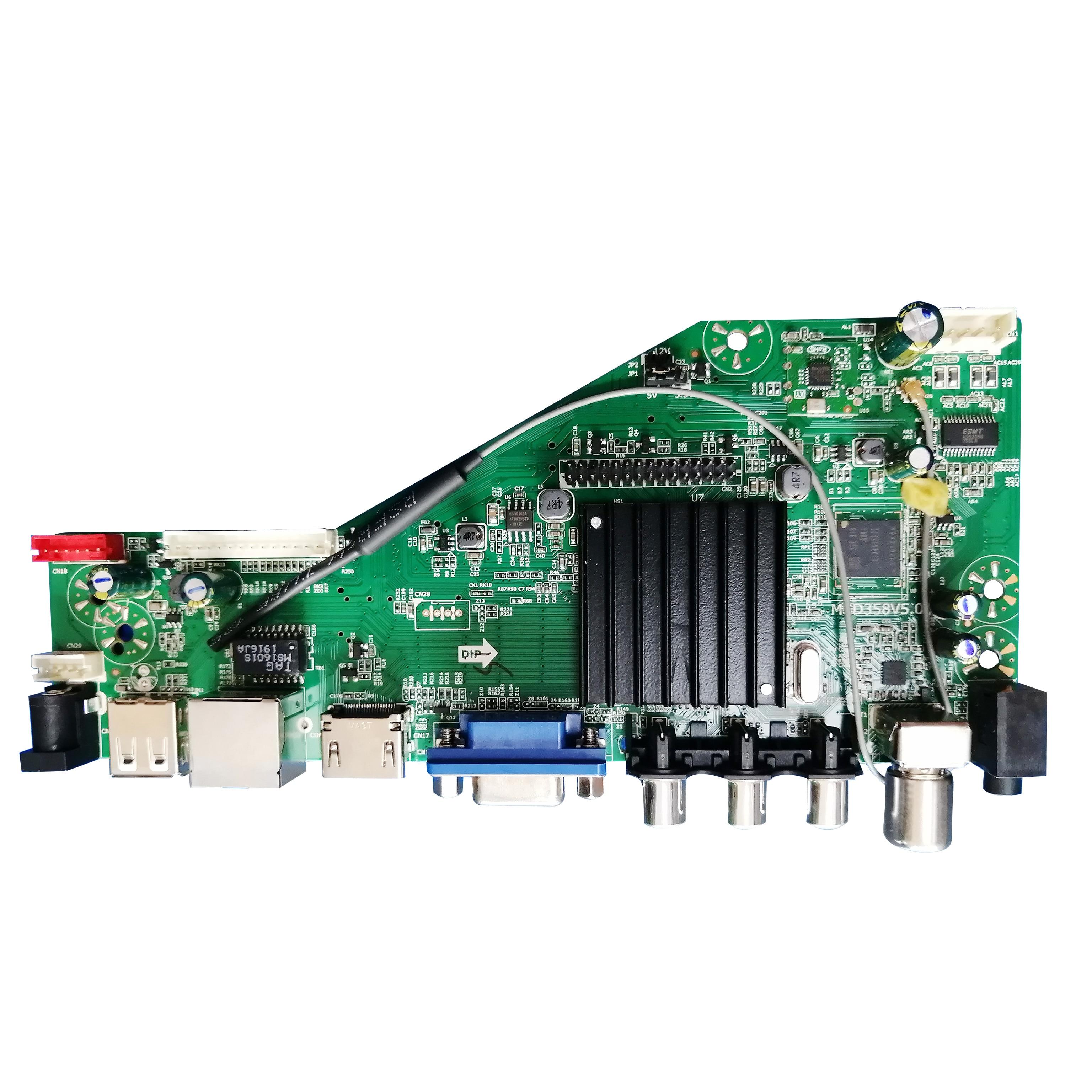 Msd358v5.0 android 8.0 1g + 4g 4 núcleos de rede sem fio inteligente tv placa motorista universal lcd placa mãe wi-fi 3.3/5/12 v