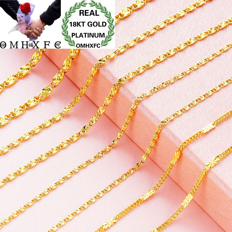 OMHXFC Wholesale European Fashion Woman Female Party Wedding Gift Long 45cm Elegant Flat O Real 18KT Gold Chain Necklace NL14