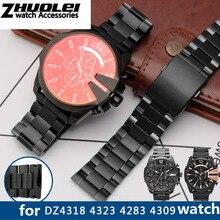 高品質 DZ4318 用 4323 4283 4309 オリジナルスタイルステンレススチール時計バンド男性大時計ケースブレスレット 26 ミリメートル黒