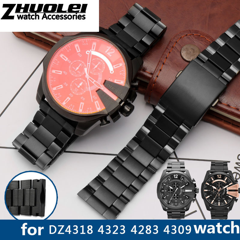 High Quality Strap For DZ4318 4323 4283 4309 Original Style Stainless Steel Watchband Male Large Watch Case Bracelet 26mm Black