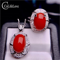 CoLife Jewelry 100% Real Red Coral Ring and Pendant Set 7*11mm Natural Red Coral Jewelry Set 925 Silver Coral Jewelry