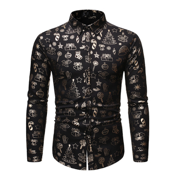 2019 Shiny Black Floral Print Christmas Shirt Men Business Casual Shirt Fashion Men's Christmas Sequins Shirts Top Party Costume