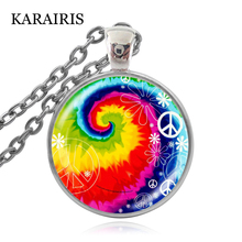 KARAIRIS Beautiful Rainbow spiral Peace Necklace Hope for World Peace Sign Jewelry Making Women Man Necklaces peace
