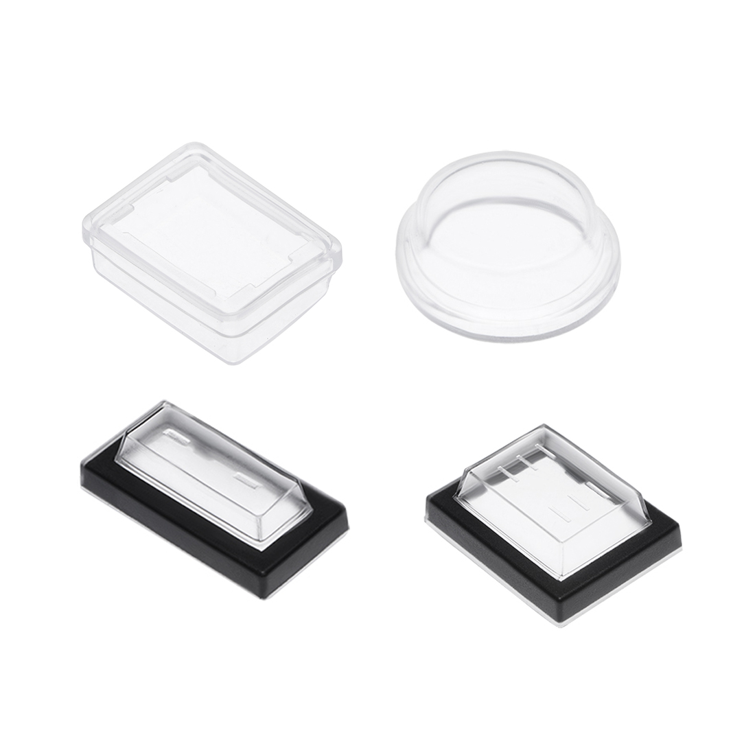 Uxcell 10/20pcs Switch Covers Waterproof Case Rectangle/Round Caps Protector Clear Silicone For Boat Rocker Switch