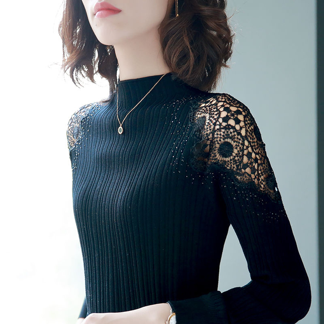 Women Spring Autumn Style Knitted Blouses Shirts Lady Casual Turtleneck Lace Decor Blusas Tops DD8043 1