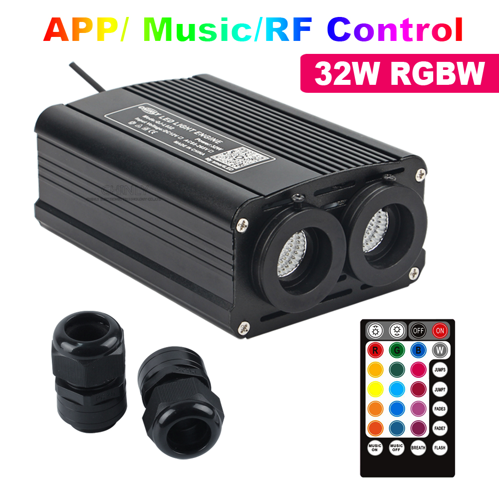 RGBW 32W LED Fiber Optic Engine Smart Bluetooth /Music /RF Remote Control Double Head Light Source For All Fiber Optic Cable
