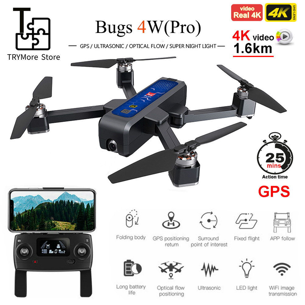Try Bugs 4w B4w Real 4k Fhd Camera 5g Wifi Gps Brushless Foldable Drone Anti shake 1.6km 20 Minute Optical Flow Rc Quadcopter|RC Helicopters| |  - title=
