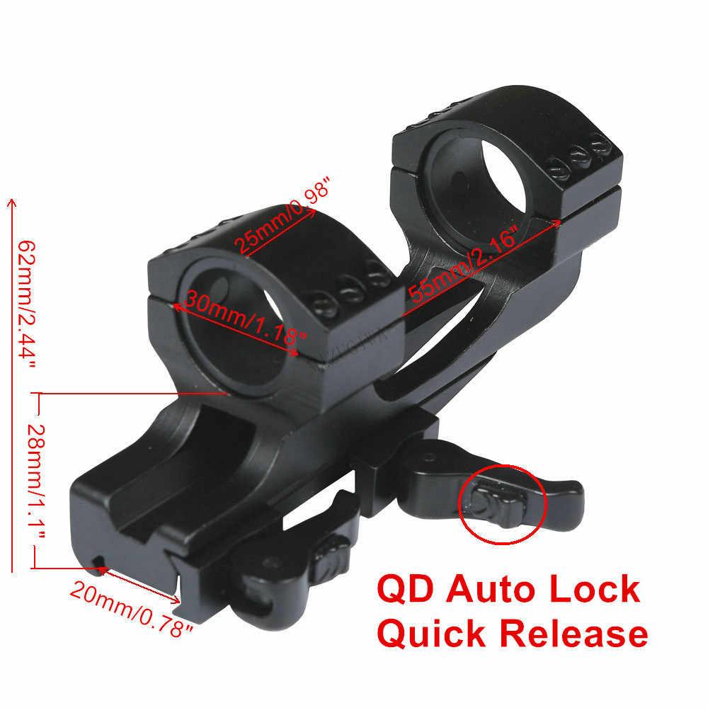 Montaje de alcance 25,4mm 1 pulgada/30mm anillo plano superior voladizo Weaver Reach de alta resistencia 20mm Picatinny Rail QD Auto Lock