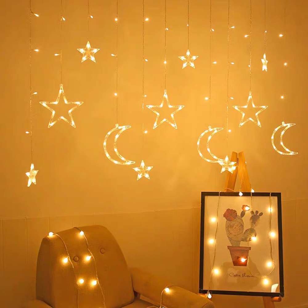 cheapest LED Deer Star Moon Curtain Light 220V 110V Christmas Garland String Fairy Lights Outdoor For Home Wedding Party New Year Decor
