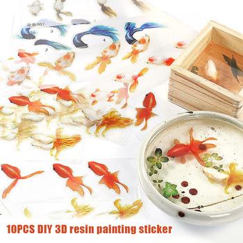 10 sztuk rzemieślnicze 3D żywiczne obrazy 3D małe złote rybki naklejki dla DIY epoksydowe rzemiosło żywiczne ALI88 tanie i dobre opinie Nonslp-mats CN (pochodzenie) Nowoczesne Zwierząt Z żywicy Paczka z wieloma częściami