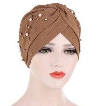 イスラム教徒ターバンパールビーズイスラム教徒の女性のターバン帽子スカーフbanadansがん化学ビーニーキャップheadwrapヘアアクセサリーホット