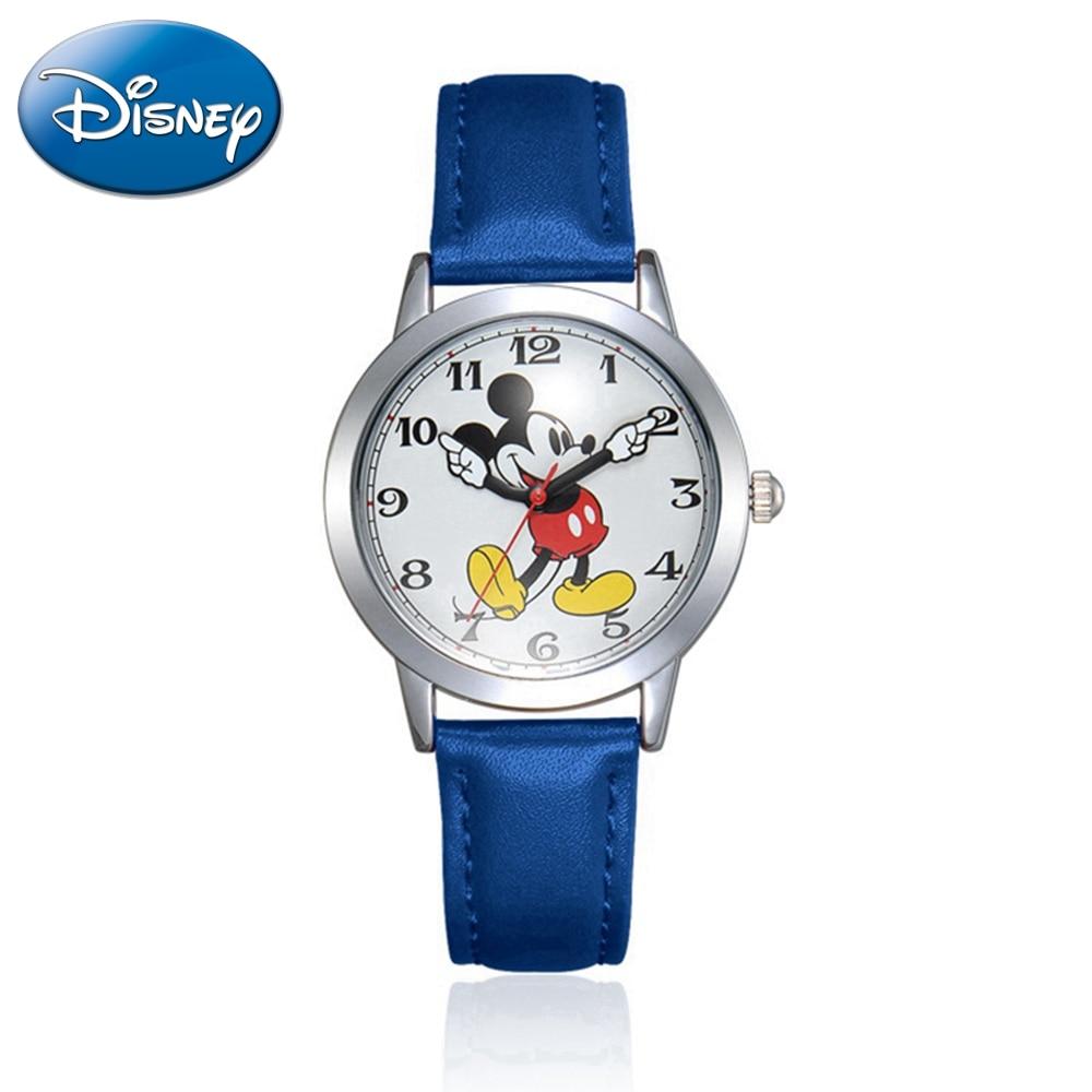 Children Disney Leather Strap Quartz Child Love Watches Mickey Mouse Cartoon Student Watch Boys Girls Birthday Best Gift Kids