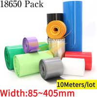 Paquete de Tubo termorretráctil de PVC con batería de litio 400, envoltura de película de aislamiento, funda de iones de litio, 10M de ancho, 85mm ~ 18650mm