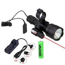 Охотничий фонарь светильник лазерный точечный прицел тактический флэш-светильник T6 светодиодный фонарь переключатель давления крепление для охоты детектор рыбалки