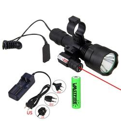 Caça luz da tocha laser dot sight scope lanterna tática t6 led interruptor de pressão da tocha montagem para a caça pesca detector