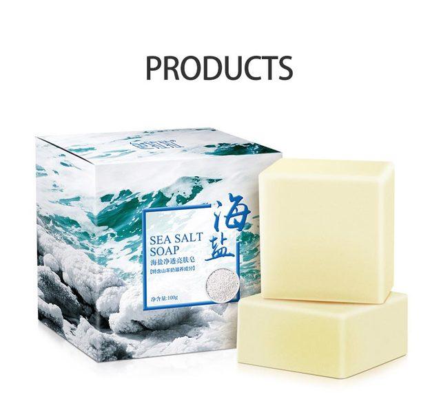 LAIKOU Sea Salt Soap Cleaner Oil Control  Removal Pimple Pore Acne Treatment Blackhead Remover Goat Milk Moisturizing Soap 5