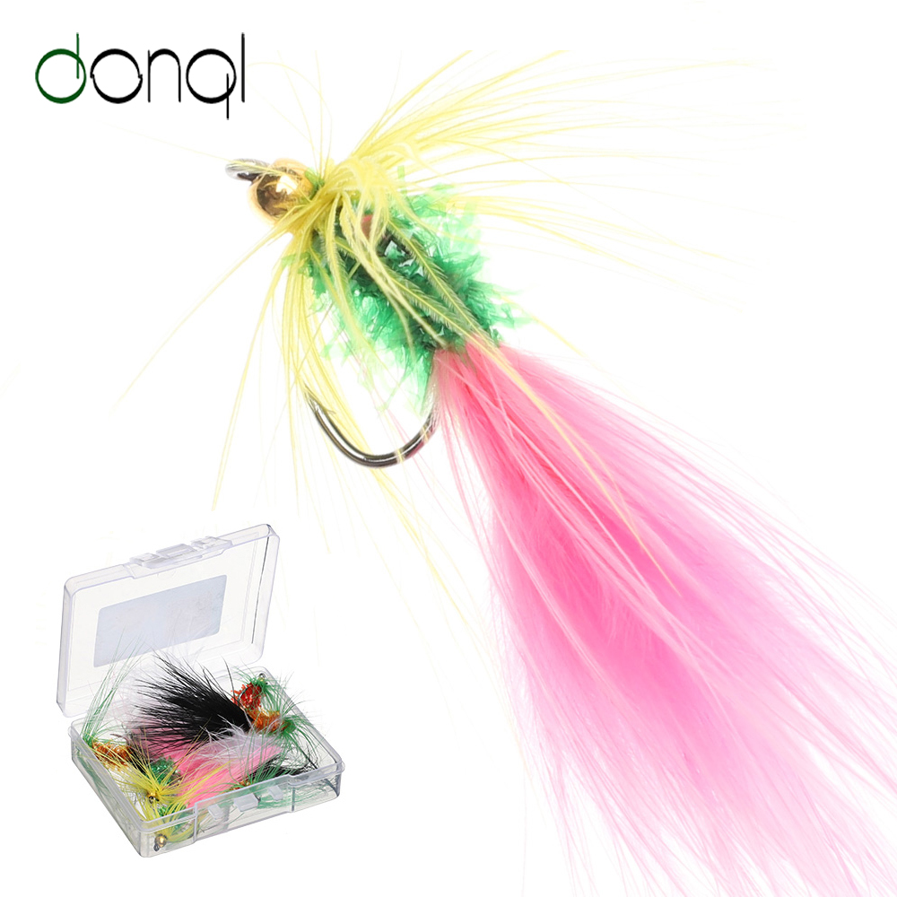 DONQL 10/20pcs Insects Flies Fly Fishing Lures Moth Trout Dry Plush Fishing Baits With Sharpened Crank Hooks Fishing Accessories