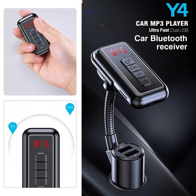 Receptor y transmisor de Audio inalámbrico 2 en 1 para coche, reproductor MP3, Bluetooth, Aux, Dongle, carga USB Dual